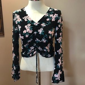 Cotton On Floral Front Ruched Bell Sleeve Blouse